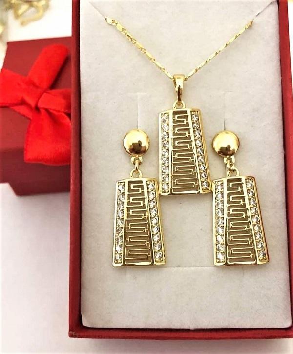 Set pandantiv, cercei, LANTISOR din aliaj de zinc, placat cu aur de 14k
