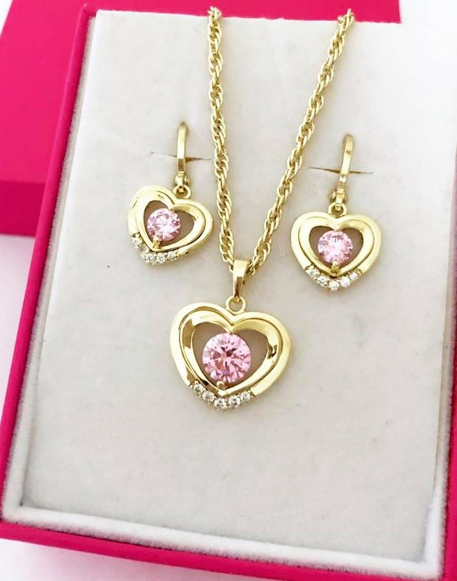 Set piatra roz, pandantiv, cercei, LANTISOR din aliaj de zinc placat cu aur de 14k