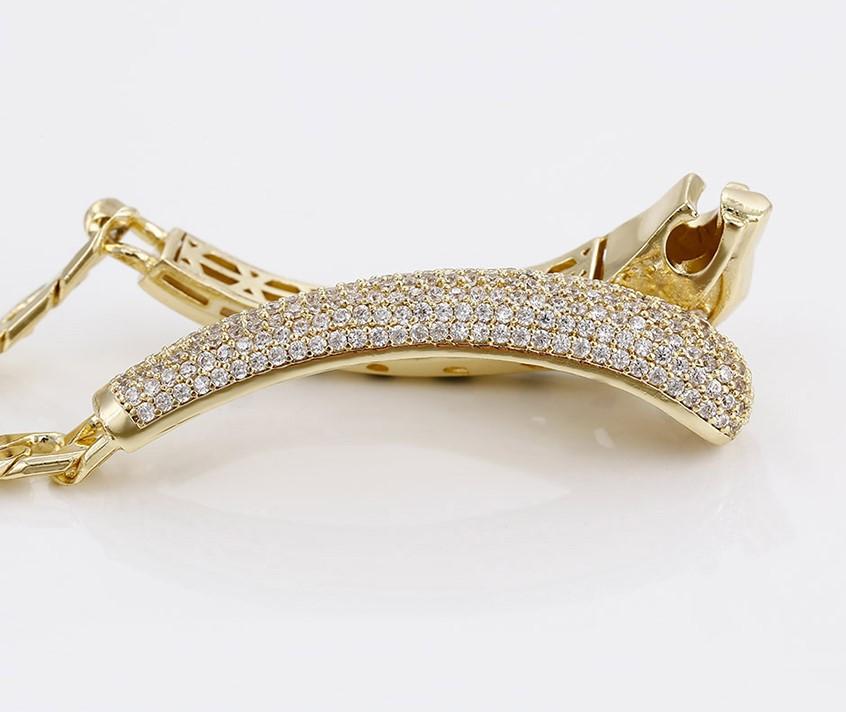 Bratara luxury din aliaj de zinc, placata cu aur galben de 14k