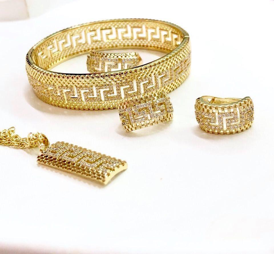 Set inel, pandantiv, cercei, bratara, LANTISOR din aliaj de zinc, placat cu aur de 14k