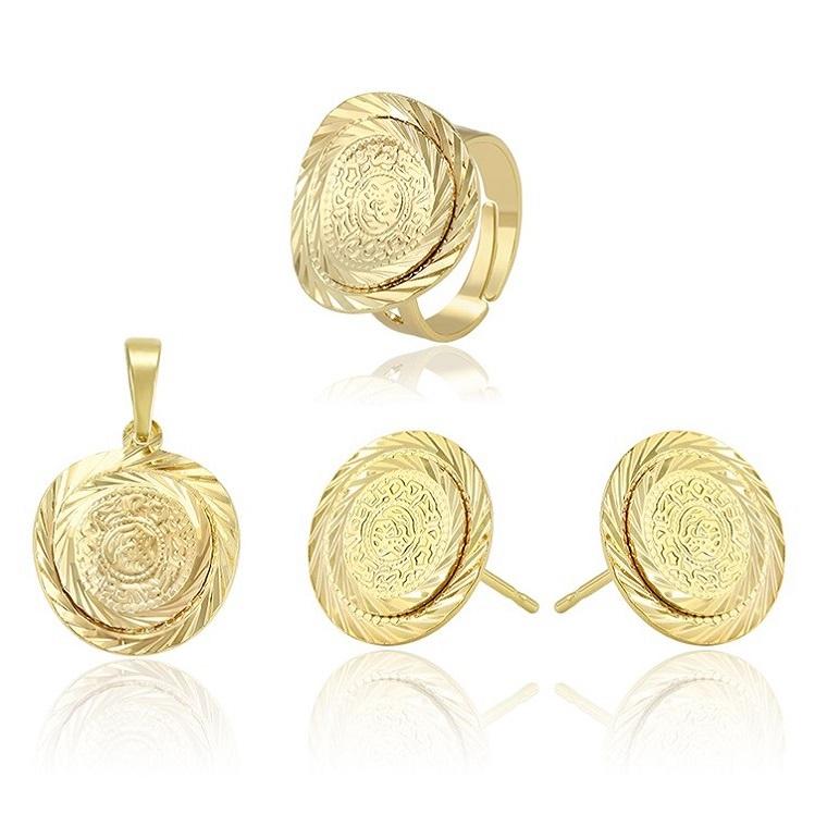Set pandantiv, cercei, inel reglabil, LANTISOR din aliaj de zinc, placat cu aur de 14k