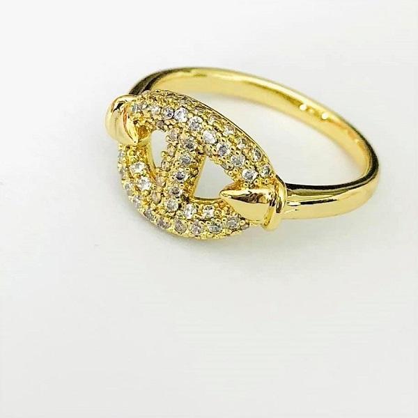 Inel din aliaj de zinc, placat cu aur galben 14K