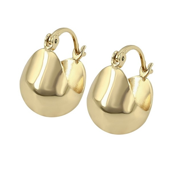 Cercei din aliaj de zinc, placati cu aur galben 14k