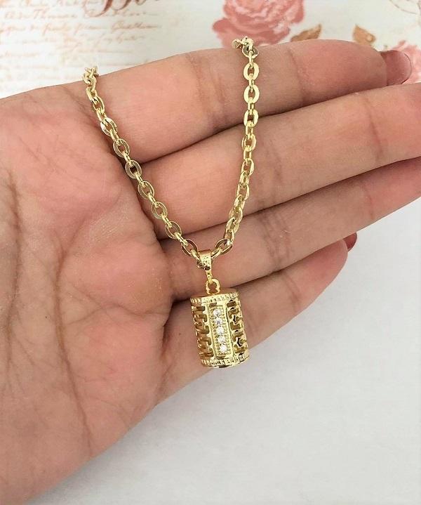 Pandantiv din aliaj de zinc placat cu aur galben 14k lantisor CADOU