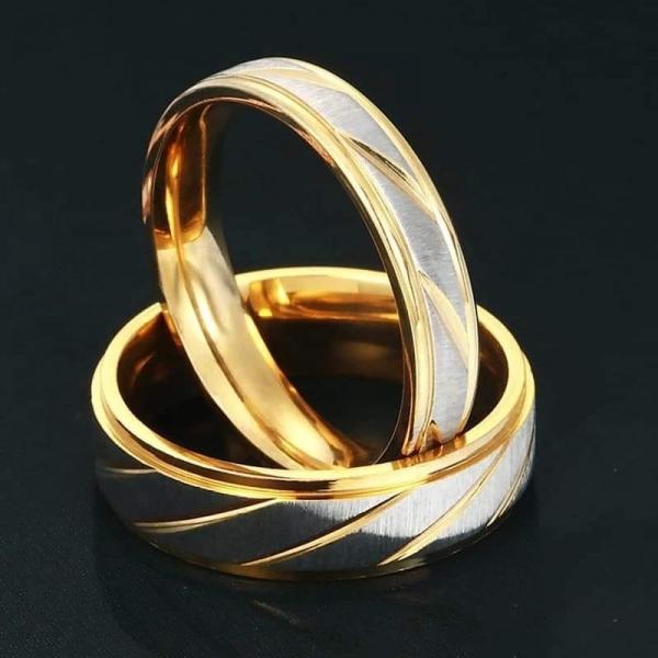 Inel INOX, placat cu aur galben