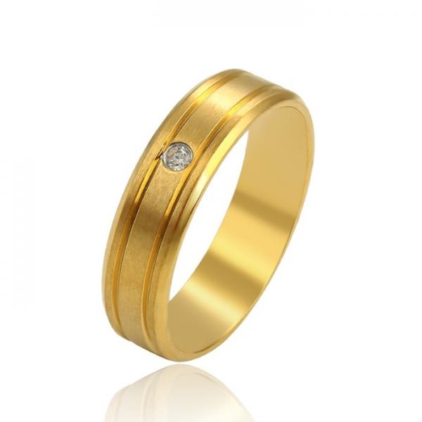 Inel INOX, placat cu aur